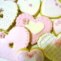 Hearts Pink heart cookies, with fondant accents.