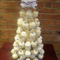 Purple And Silver Wedding Cupcake Tower