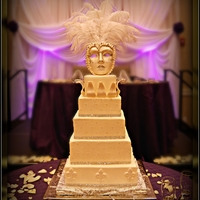 Rosalin's Wedding Cake All butter cream cake. I made the mask from gumpaste .