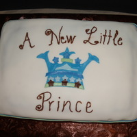 Baby Shower Baby shower cake for friend. Used hi-ratiio shortening and it was the BEST ever. Used shower napkin for similar design on cake