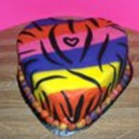 Heart Neon Zebra Striped Just using left-over fondant to play...