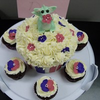 Fairy Dragon Large Cupcake With Matching Cupcakes Buttercream frosting, royal icing flowers and fondant dragon