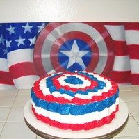 Captian American Cake Red White and Blue from the inside out, Captain America cake. Perfect for 4th of July. Oil painting by Tim Nelson..