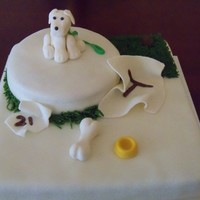 Doggie And Frankinweenie Inspired  fondant covered and fondant made fugues.. If you've seen the movie you'll get the tissue part. Made this for a doggie lover....