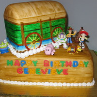 Toy Story Cake For My Daughter I made this cake for my daughter's 3rd birthday. I carved and covered the cake in MMF and then painted it to look like Andy's...