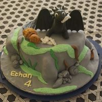 "Toothless Cake My son asked for a ""How to train your dragon"" cake for his 4th birthday. I found a picture of a cake online and replicated it...."