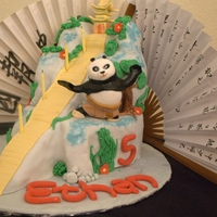 "Kung Fu Panda Cake My son wanted a Kung Fu panda birthday party and asked for a very elaborate cake - I had ""cakers block"" so this is what I managed..."