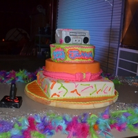 Totally 80's 4 tier 80's theme cake. Neon colors