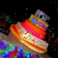 80's Theme 80's cake neon colors