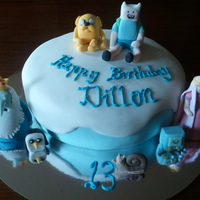 Dillon's Adventure Time Cake My son is still mad on Adventure Time and requested this cake for his 13th birthday. Had so much fun with this one....Credit to anna banana...