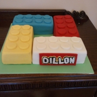 Lego Cake   Another lego cake for my son Dillon. Four different flavors, chocolate, lemon, choc/vanilla swirl and chocolate mud. TFL.