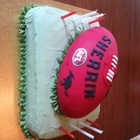Blake's Afl Football Cake  This cake was made for my son's 8th birthday. The base is a chocolate cake layed with chocolate ganache, covered in buttercream. The...