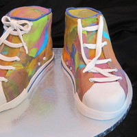 Converse Sneaks For my friend's daughter. The party was a tie-dye converse party where they got to take white converse and decorate them as they...