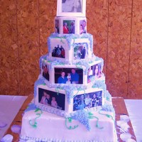 60Th Anniversary Picture Cake 60th Anniversary Photo cake for my grandparents. Topper is their wedding pic. 1st tier is pics of them through the years. 2nd tier is pics...