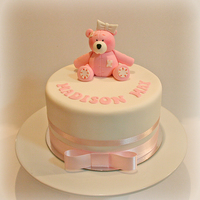 Pink Tatty Teddy Cake White chocolate caramel mud cake with white chocolate ganache covered in sugar-paste. To find out how to make it just visit my blog.......