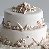 Beach Wedding Cake I used 'First Impressions' silicon moulds to make my sea shells. If you would like the recipe and instructions on how to make the...