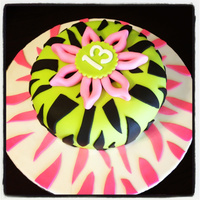 Green And Pink Zebra Stripe Birthday