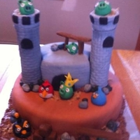 Angry Bird Vanilla Cake with ButterCream covered in fondant