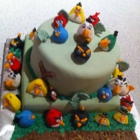 Angry Birds Vanilla cake, buttercream frosting, covered in fondant