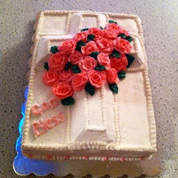 Baptism Chocolate cake with chocolate ganache filling covered with buttercream frosting