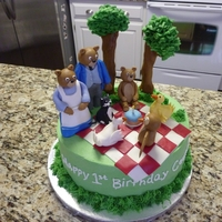 "Little Bear And Friends 10"" cake with a smash cake also made. Figures are fondant/gumpaste mixture. Trees are pretzel rods wrapped on fondant and leaves are..."