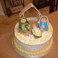 Nativity Scene Inspired by Karen Davies. Lemon cake with buttercream. Customer requested this cake 7 months ago!