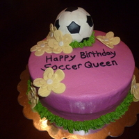 "Soccer Queen This soccer queen knew exactly what she wanted...including the pink buttercream, chocolate cake, and ""girly"" theme."
