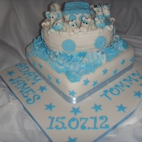 Noah's Ark Two Tier Christening Cake