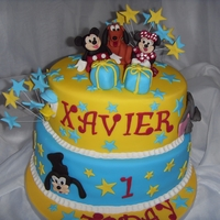 Two Tier Disney Character 1St Birthday Cake