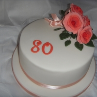 Orange Roses 80Th Birthday Cake