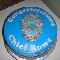 Police Chief Cake   I made this for a party for the new police chief in a surrounding city. It was my first time using metallic coloring.