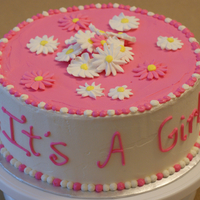 It's A Girl! Yellow cake, Buttercream icing, RI Daisies