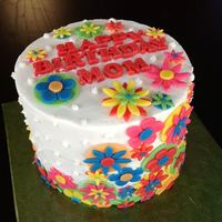 "Flower Birthday Cake Simple 6"" birthday cake. This is the first cake I have had complete design control. I like how it turned out!"