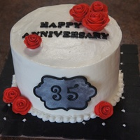 35Th Anniversary Cake Cake for my cousin to give his parents! Covered in buttercream. Fondant roses and letters.