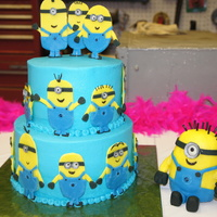 Cake For A Minion Lover Strawberry Cake Covered In Buttercream All The Minions Are Modelling Chocolate The Big Minion Was Originally G  Cake for a Minion Lover! Strawberry cake covered in buttercream. All the minions are modelling chocolate. The big minion was originally...
