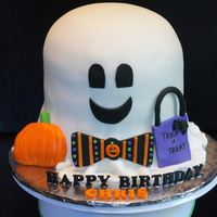 Ghost Cake Ghost cake for a Halloween birthday boy! Strawberry cake with white buttercream, covered with fondant. All details are fondant.