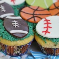 Sports Themed Cupcakes Cupcakes for my little monkey's second birthday. Chocolate cupcakes with peanut butter filling and peanut butter buttercream, and...