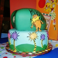 Dr. Seuss Birthday Cake Neopolitan cake made up this two tier Dr. Seuss cake, themed with The Lorax and Green eggs and Ham.