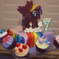My Little Pony Cake Princess Luna On Top Cupcakes Representing All Other Ponies All Decorations Are Modeling Chocolate My Little Pony cake. Princess Luna on top, cupcakes representing all other ponies. All decorations are modeling chocolate.