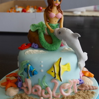 Ocean Cake Ocean theme for 3 year old. All decorations are modeling chocolate. Awesome mermaid tutorial from Elizabeth Marek.