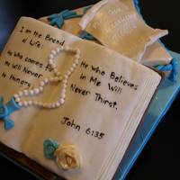 First Communion Pillow cake with RKT bible. Verse chosen by the mother. Pattern on pillow was modeled after the invitation.