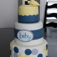 Baby Shower Cakenursery Colors Are Navy Blue Yellow Gray And White Mom To Be Loves Penguins So There Is A Baby Penguin At The Top 8 Baby shower cake...nursery colors are navy blue, yellow, gray and white. Mom to be loves penguins so there is a baby penguin at the top. 8&...