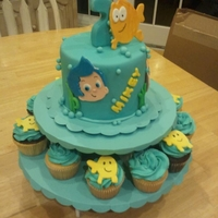 Bubble Guppies Cake   Aqua Bubble Guppies themed cake for a 2nd birthday Celebration