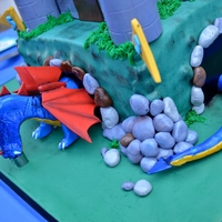 Dragon/castle Cake   Side view of cake. this was for a 5th birthday