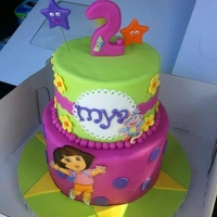 "Dora The Explorer ""2"" Birthday   For Mya turning 2. I sketched my own design and this is what the end result was. Love the color combo."