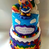 Rainbow Brite Birthday Cake Rainbow Brite cake for an adult. Rainbow Brite and unicorn are gumpaste figurines. I followed a video tutorial to get the unicorn shape...