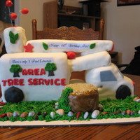 Truck Cake  A tree trimming bucket truck cake. I made this for my brother-in law's 60th birthday. He owns his business. Chocolate cake with...