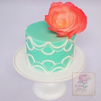 Hand Piped Cake With Wafer Paper Peony!