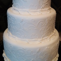 Scroll Celebration Cake  Simple but beautiful. Can be used for anniversary, wedding, birthday or mother's day. Any flower/topper added would take it over the...