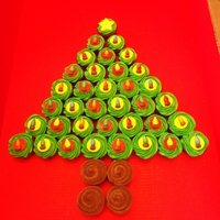 Cupcake Christmas Tree This was made with over 3 dozen cupcakes. Toppers were very time consuming but I was so happy with the way they turned out! TFL